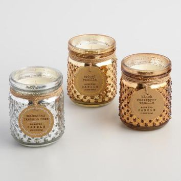 Mercury Glass Hobnail Jar Candle Collection