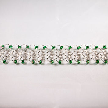 Silver Plated Chainmail Bracelet with Green Accent Beads