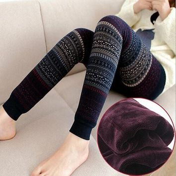 Christmas Winter Thick Warm Leggings For Women Black  Fitness Punk Velvet Fleece Lined Leggings
