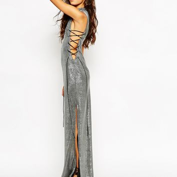 Jaded London Metallic Maxi Dress With High Neck & Sexy Thigh Split With Lace Up