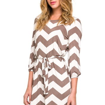 Mocha Chevron Tie Waist 3/4 Sleeve Dress