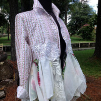 Shabby Babydoll romantic floral lace boho upcycled lagenlook reconstructed top, S