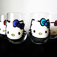 hello kitty stemless wine glasses -different colored bows – hand painted – 20 oz