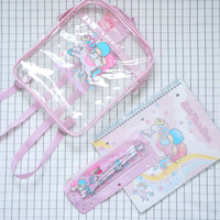 90's Clear Backpack, Sanrio Little Twin Star Backpack, Pink Transparent Backpack, Pastel Goth, Aesthetic, Babe, Cyber Angel, Tumblr