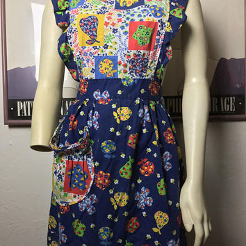 Vintage 70s Floral Patchwork Pinafore Dress / Primary Color Folk Art Apron Dress / Back Button Wrap Maxi Dress / Hippie Apron Smock Dress