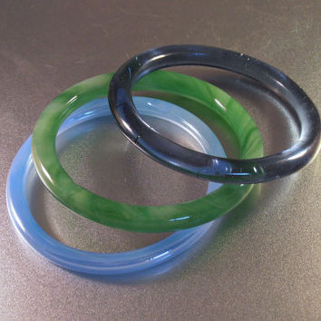 Czech Glass Bangle Bracelet Lot, 3 Bangles, Stacking, Sapphire & Sky Blue, Jade Green