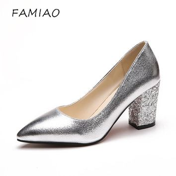 FAMIAO  high heels shoes woman luxury brand buckle Square heel bigtree shoes OL sexy pumps bridal wedding women shoes saltos