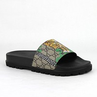 Gucci Men's Beige GG Supreme Canvas Bengal Tiger Slide Sandal 7G/7.5 450895 8650