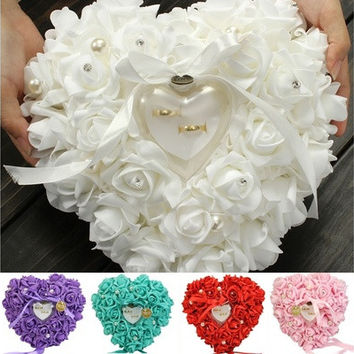 Romantic Rose Wedding Favors Heart Shaped Jewelry Gift Ring Box Pillow Cushion [7981613319]