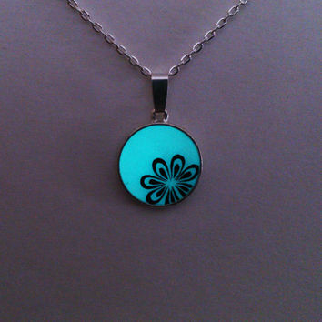 Aqua Glowing Necklace , Flower, Glowing Jewelry,  Glow in the Dark Pendant , Gift for Her, Gift ideas, OOAK
