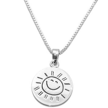 "Small Sterling Silver ""You are my Sunshine my only Sunshine"" Necklace (18"" chain included)"