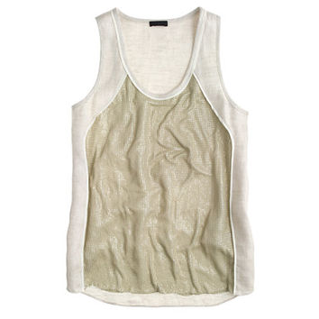 J.Crew Womens Collection Linen Chain-Mail Tank Top
