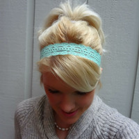 Mint green stretch lace headband by VintageBowBoutique on Etsy