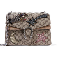 Gucci - Dionysus large embellished suede-trimmed coated canvas shoulder bag