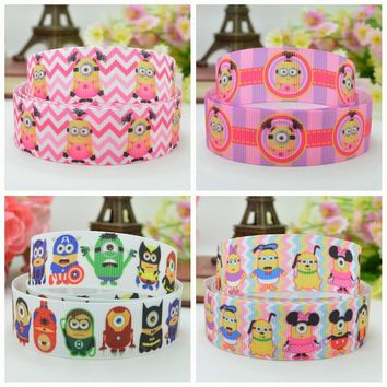 "DUWES 7/8"" 22mm 2 5 10 20 50 Yards Minions Printed grosgrain ribbon hair bow DIY handmade Retail"