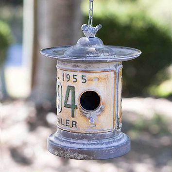 Distressed Rustic Galvanized Metal Round License Plate Hanging Bird House