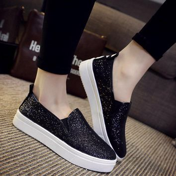 Fashion Shoes Women Loafers Shoes Flats Glitter Single Shoes Breathable Platform Sequi