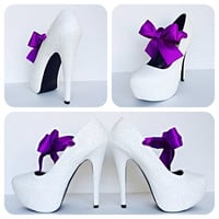 The Vow Glitter High Heels with Purple Bow