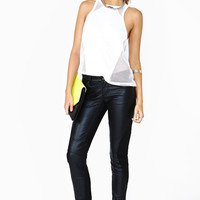 Leather Patchwork Pants