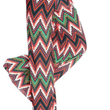 Summer Black White Red Chevron Print Gaucho Pants