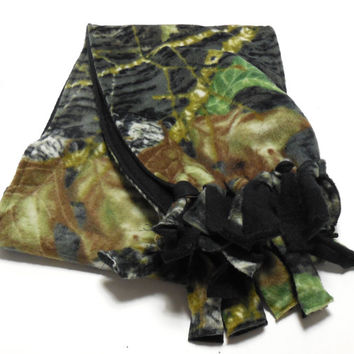 Woodland Camo Polar Fleece Infinity Scarf Kids Adults Double Layer