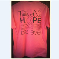 Breast Cancer Awareness shirt, hope shirt, butterfly breast cancer, cancer support, i wear pink, faith and love, believe in a cure, cancer