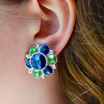 Vintage Clip On Earrings Blue Green Rivoli Rhinestones Cluster Silver Tone Statement Mid Century 1960's / Vintage Costume Jewelry