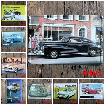 Vintage Car Lovers Distressed Rustic Metal Tin Art Wall Signage Posters Retro Tin Wall Posters