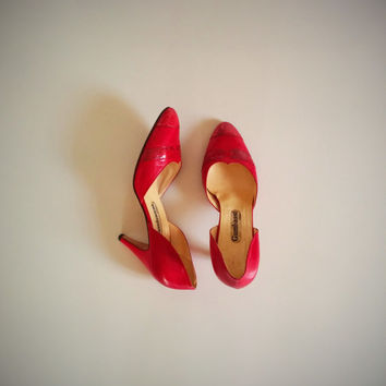 Vintage 80's Red Pumps Leather and Snakeskin High Heels