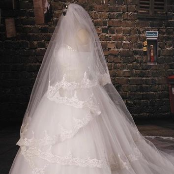 White Tulle Cathedral Train Wedding Veil Lace Applique Multi-layer Long Bridal Veils Wedding Accessories