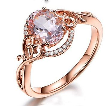 Oval Morganite Engagement Ring Pave Diamond Wedding 14K Rose Gold 6x8mm,Floral
