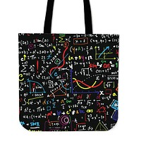 Colorful Math Formula Linen Tote Bag