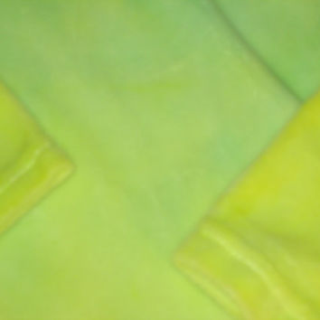 Princess-like Velour knit dress, cotton, tie-dyed ogre yellow-green, soft, 4 T Girls matches smaller 2T or 4T size for sisters or twins.