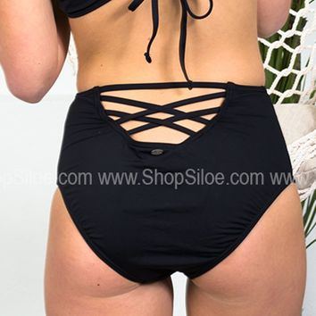 Black High Waisted Strappy Bottoms