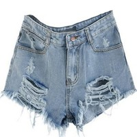EGELEXY Vintage Womens Denim High Waisted Shorts Jeans Blue