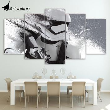 HD 5 piece canvas art printed Star Wars Stormtrooper Painting livingroom wall art canvas poster picture Free shipping/ja017