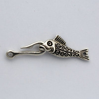 2 Fish & Hook Clasps - Greek Castings - Pewter Clasps - 50 mm Clasp