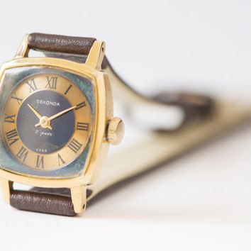 Small women's watch Soviet wristwatch cocolate brown gold plated watch square face
