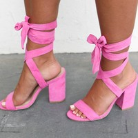 SZ 10 Serious Shade Suede Lace Up Pink Heels