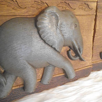 2 Vintage Elephant Plaques ~ Elephant Wall Hangings