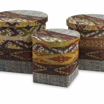 Tymon Water hyacinth Baskets with Lids - Set of 3