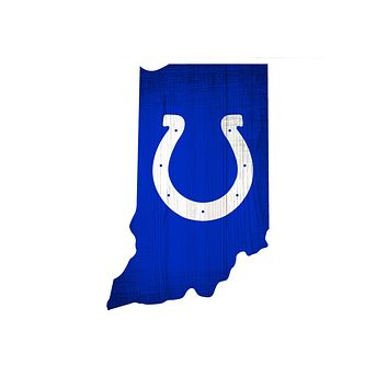 Indianapolis Colts Sign Wood Logo State Design
