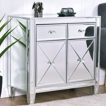 Mirrored Accent Cabinet- Luxury Silver Mirrored Chest