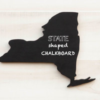 New York state shape sign wood cutout wall art Chalkboard Message Board. 34 non-chalkboard colors. College Dorm Country Cottage Chic Decor