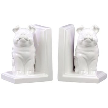 Ceramic Sitting Winged Pig Bookend - White