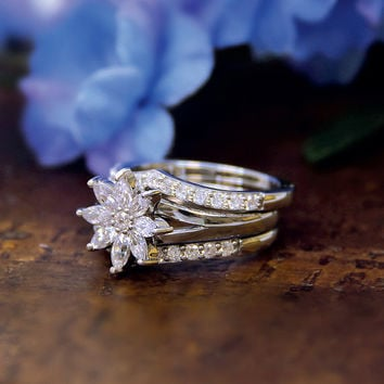 0.67 Carat Main-Marquise Cut Diamond Simulants-Engagement Ring-Flower Ring-Stacking Band Ring-Bridal Set Ring-925 Sterling Silver-R74717