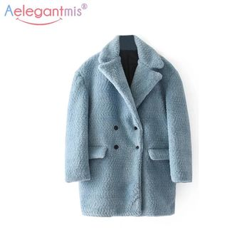 Aelegantmis Women Wool Blends Coat Classic Turn-down Collar Double Breasted Jackets Coats Lady Winter Warm Alpaca Outerwear