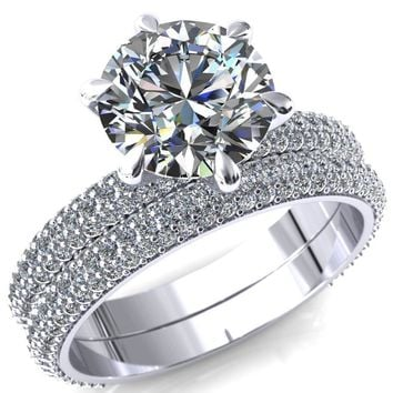 Elley Round Moissanite 6 Claw Prong Diamond Accent Engagement Ring