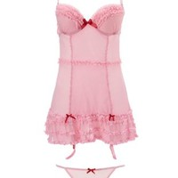 Dotted Mesh & Ruffle Chemise & Thong Set - Pink Combo