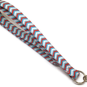 Chevron lanyard, red and aqua lanyard, personalized lanyard, ID badge lanyard, keychain lanyard, teacher lanyard, teacher gift idea, lanyard